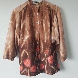 1970's Straw Flower and Wheat Print Blouse